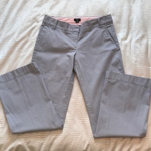 J Crew pale grey cotton straight leg pants